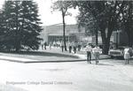 Bridgewater College, Students exiting Alumni Gymnasium, undated by Bridgewater College