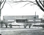 Bridgewater College, Vintage cars on East College Street in front of Alumni Gymnasium, undated by Bridgewater College