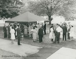 Bridgewater College, Group of attendees under a tent for Alumni Day and Banquet, 29 May 1965 by Bridgewater College
