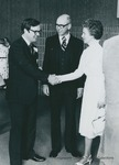 Bridgewater College, Phillip C. Stone receiving the Distinguished Young Alumnus award from Dr. and Mrs. Benjamin F. Wade, 1982 by Bridgewater College