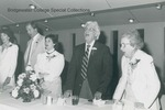 Bridgewater College, Professor Nelson T. Huffman, class of 1925, leads Bridgewater Fair at the Alumni Banquet, May 1985 by Bridgewater College