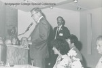Bridgewater College, Dr. Harry G. M. (Doc) Jopson reads an award citation at the Alumni Banquet, May 1985 by Bridgewater College