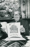 Bridgewater College, Rhea W. Bowman, class of 1922, reads her Fifty-Year Club souvenir booklet, 1984 by Bridgewater College