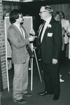 Bridgewater College, Moses H. W. Chan (left) with President Wayne F. Geisert after winning a Distinquished Young Alumnus Award, May 1984 by Bridgewater College