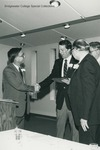 Bridgewater College, Lynn N. Myers (center) winning a Distinquished Young Alumnus Award, May 1984 by Bridgewater College