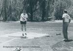 Bridgewater College, Joe Freeland throwing in the Alumni Track Meet, 3 May 1986 by Bridgewater College