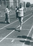 Bridgewater College, Dwight Denlinger running at the Alumni Track Meet, 3 May 1986 by Bridgewater College