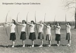 Bridgewater College, Female students in a line drawing longbows, 4 April 1945 by Bridgewater College