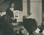 Bridgewater College, Art professor Olive Delp Graham discussing the Great Madonnas, circa 1952 by Bridgewater College