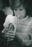 Bridgewater College, A student playing a french horn in the concert band or orchestra, possibly 1986 by Bridgewater College