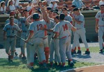 Bridgewater College Eagles baseball team celebrating during the 1994 ODAC Tournament by Bridgewater College