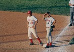 Bridgewater College, Rod Pierce and a Lynchburg College player on the baseball field, circa 1994 by Bridgewater College