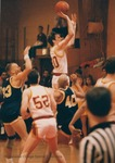 Bridgewater College vs Emory & Henry College men's basketball action photograph featuring Todd DeBerry (23), Jaunary 1988 by Bridgewater College