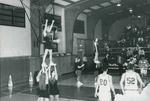 Bridgewater College, Cheerleaders performing at a men's baksetball game, circa 1996 by Bridgewater College