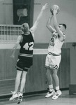 Bridgewater College, Men's basketball action photograph featuring Scott Powers, circa 1994 by Bridgewater College