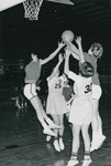 Bridgewater College, Chris Lydle (photographer), Women's varsity basketball action photograph featuring Lois Sanger and Nancy Boller against Salisbury State College players, circa 1966 by Chris Lydle