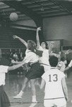 Bridgewater College, Chris Lydle (photographer), Women's varsity basketball action photograph featuring Pat Nunnally, circa 1966 by Chris Lydle
