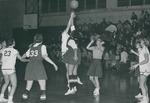 Bridgewater College, Joe Powell (photographer), Action photograph of a women's basketball varsity game featuring Nancy Caricofe, circa 1968 by Joe Powell