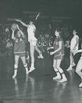 Bridgewater College, Dan Legge (photographer), Women's varsity basketball action photograph featuring a block by Jo Cahall, circa 1968 by Dan Legge