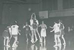 Bridgewater College, Richard Geib (photographer), Women's basketball action photograph with Nancy Hall jumping, circa 1967 by Richard Geib