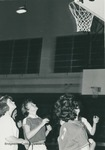 Bridgewater College women's junior varsity basketball action photograph with Eileen Short and Ann Miller waiting for the rebound, circa 1966 by Bridgewater College
