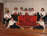 Bridgewater College Women's basketball team portrait in formal wear with ODAC Champions banner, 1989-1990 by Bridgewater College