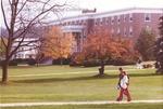 Bridgewater College, Students walking near Blue Ridge Hall in autumn, undated by Bridgewater College