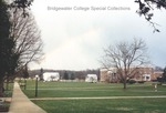 Bridgewater College, Blue Ridge Hall, campus mall and farm under rainbow, undated by Bridgewater College
