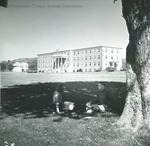 Bridgewater College, Students under tree with Blue Ridge Hall in background, undated by Bridgewater College