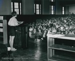 Bridgewater College, student president Marba Hart assigning Booklift jobs to faculty and students, 18 Sept 1963 by Bridgewater College