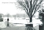 Bridgewater College, Bowman Hall across the campus mall in snow,undated by Bridgewater College