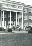 Bridgewater College, Group of students entering Bowman Hall, undated by Bridgewater College
