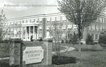 Bridgewater College, Bowman Hall behind Bridgewater College entrance sign, undated by Bridgewater College