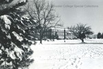 Bridgewater College, Bowman Hall across campus mall winter, undated by Bridgewater College