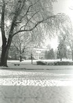 Bridgewater College, Bowman Hall across campus in ice and snow, undated by Bridgewater College