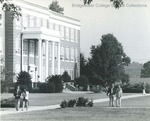 Bridgewater College, Bowman Hall entrance with students on mall, undated by Bridgewater College