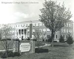 Bridgewater College, Bowman Hall behind Bridgewater College entrance sign, undated by Bridgewater College