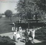Bridgewater College, Students crossing campus mall, undated by Bridgewater College