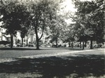 Bridgewater College, cars parked in front of Red House and Cole Hall, 1930s by Bridgewater College