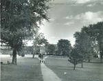 Bridgewater College, Campus mall with Blue Ridge Hall under construction to left, 1949 by Bridgewater College