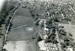 Bridgewater College, Aerial view of campus looking west with North River on left and trailer village for married students on bottom right, early 1950s by Bridgewater College
