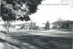 Bridgewater College, View across campus to farm, Blue Ridge Hall, Rebecca Hall and Kline Campus Center, 1970s by Bridgewater College