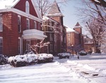 Bridgewater College, Snow shoveled sidewalk to Memorial Hall, Founders' Hall and Wardo Hall, undated by Bridgewater College