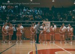 Bridgewater College, William Miracle presenting an award to the cheerleaders, circa 1988 by Bridgewater College