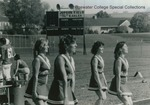 Bridgewater College, Football cheerleaders on Jopson Field, 1984 by Bridgewater College