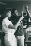 Bridgewater College, Twilla Eaton and an unidentified student in the Bowman Hall chemistry lab, probably late 1980s by Bridgewater College