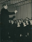 Bridgewater College, Nelson T. Huffman conducting the Glee Club's performance of Messiah, probably Dec 1951 by Bridgewater College