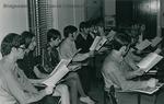 Bridgewater College, Carl Minchew (photographer), College Chorale practice, circa 1970 by Carl Minchew