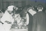 Bridgewater College, Richard Geib (photographer), Christmas banquet serving line, 1966 by Richard Geib