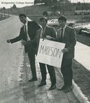 Bridgewater College, Comedic picture of three students attempting to hitchhike to Madison College, circa 1969 by Bridgewater College